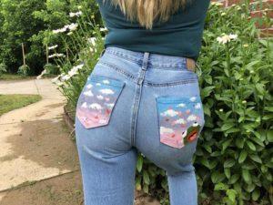 Kermit Painted Jean Pocket