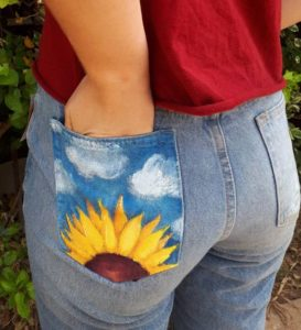 Hand Painted Jean Pocket