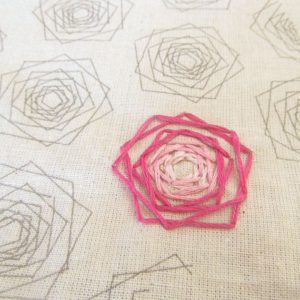 Geometric Rose Hand Embroidery Pattern