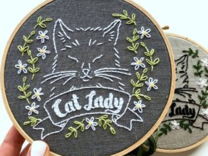 Floral Feline Embroidery Pattern