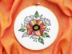 Bold and Colorful Floral Embroidery Pattern