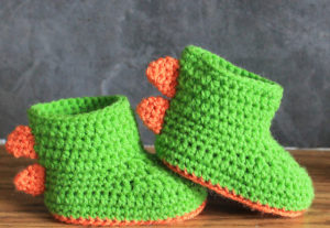 Dinosaur Baby Booties Free Crochet Pattern