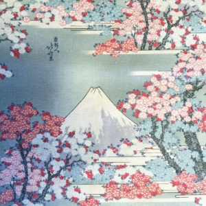 Cherry Blossom Embroidery on Printed Background Fabric