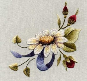 Whimsical Thread Painted Flower Pattern