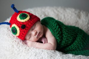 Caterpillar cocoon crochet pattern with hat
