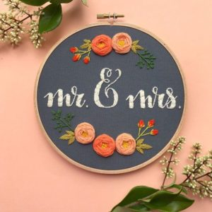 Mr. and Mrs. Script Embroidery Pattern