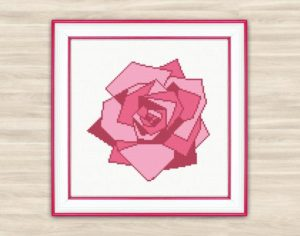 Pink Rose Geometric Florals Embroidery Pattern