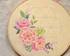 Garden Rose Hand Embroidery Pattern