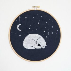 Fat Cat at Night Cross Stitch Pattern