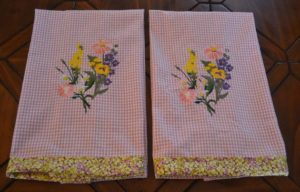 Floral Embroidered Kitchen Towels