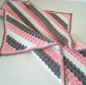 Corner-to-Corner Chevron Crochet Baby Blanket Free Pattern