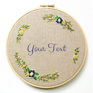 Embroidered Wedding Hoop Customizable Pattern