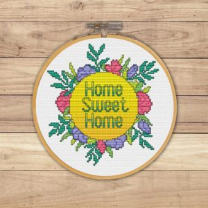 Home Sweet Home House and Flowers Embroidery Pattern