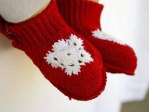Crochet Snowflake Baby Booties