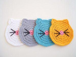 Crochet Kitten Coasters Pattern
