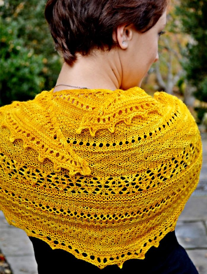 Striped and Lace Crescent Shawl