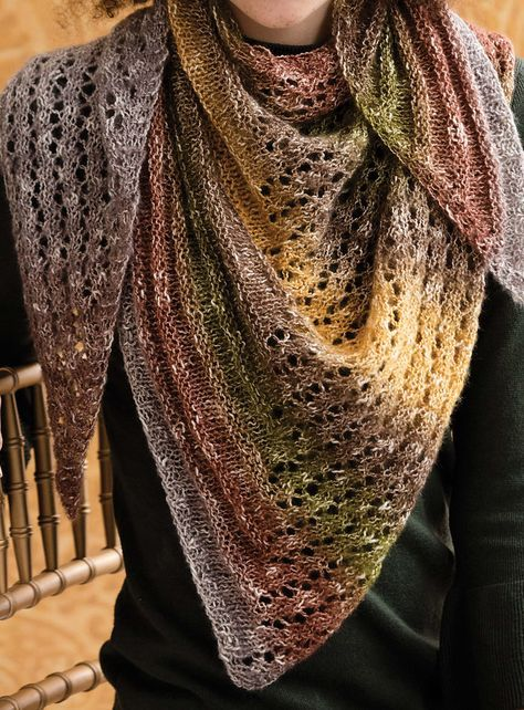 Two-Color Lace-Trimmed Triangle Shawl