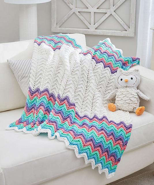 Rick Rack Stripe Blanket Free Crochet Pattern