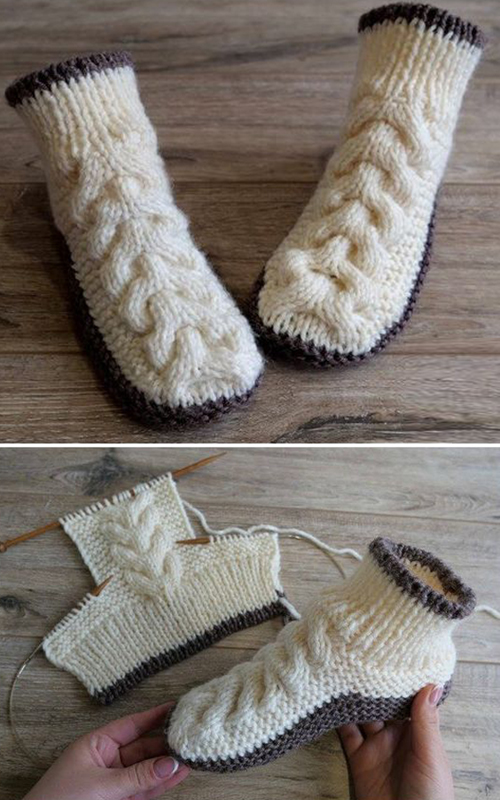 Simple Slippers With Cables