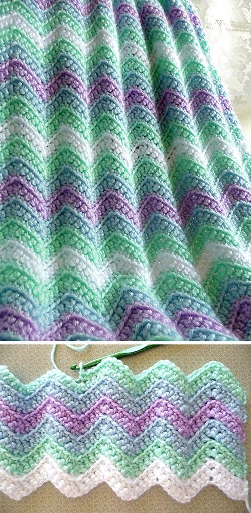 Rickrack Stripe Baby Blanket Free Crochet Pattern