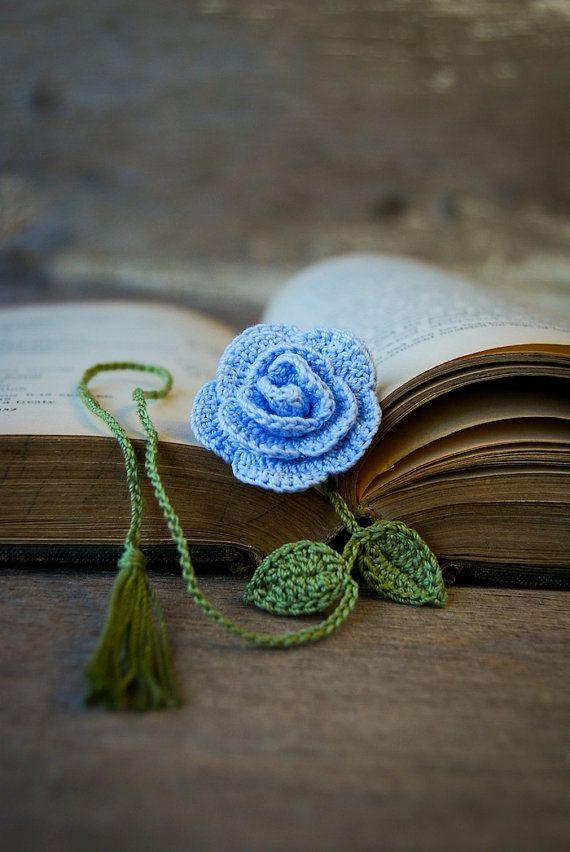 Rose crochet bookmark