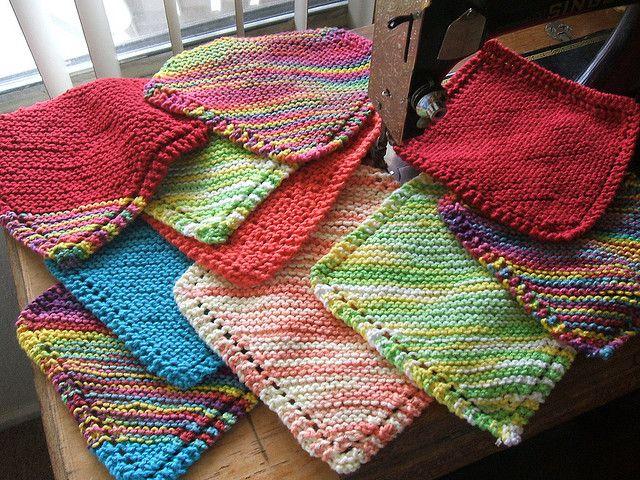 Colorful Bias Knit Dishcloth