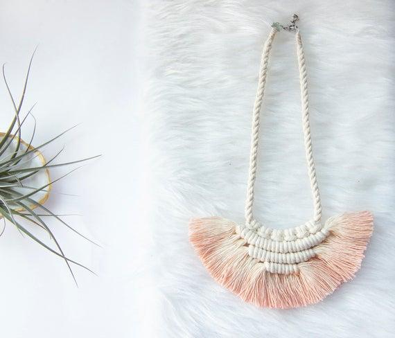 Dyed Macrame Necklace